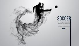 Abstraktes Schattenbild eines Fußballspielers auf dem weißen Hintergrund von den Partikeln Laufendes Springen des Fußballspielers stockfotografie