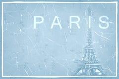 Abstraktes Schmutzhintergrundmuster mit Eiffelturm Stockfoto