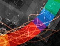 Abstraktes schwarzes Hintergrunddesign mit bunten Streifen- und Kreisringen und Linie Wellen Stockfoto
