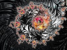 Abstraktes schwarzes, rotes und gelbes strukturiertes gewundenes Fractalmuster, 3d übertragen für Plakat, Entwurf und Unterhaltun vektor abbildung