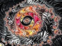 Abstraktes schwarzes, rotes und gelbes strukturiertes gewundenes Fractalmuster, 3d übertragen für Plakat, Entwurf und Unterhaltun stock abbildung