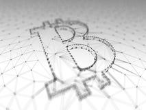 Abstraktes Schwarzweiss-- Bitcoin-Zeichen errichtet als Reihe Geschäfte in Begriffs-Illustration 3d Blockchain Lizenzfreie Stockfotos