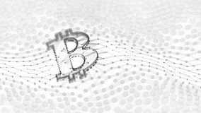 Abstraktes Schwarzweiss-- Bitcoin-Zeichen errichtet als Reihe Geschäfte in Begriffs-Illustration 3d Blockchain Lizenzfreies Stockfoto