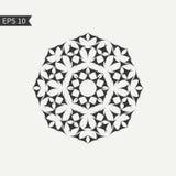 Abstraktes Schwarzweiss-Gestaltungselement Dekorative runde Ikone zeichen Artemblemschablone Vektor Stockfotografie