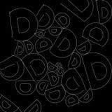 Abstraktes Schwarzweiss-Muster des Alphabetbuchstaben D als Illustrationshintergrund und -tapete lizenzfreie abbildung