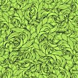 Abstraktes scrollwork nahtloses Muster, Vektorhintergrund Grünpflanzen, Gras, Locken, bewegt wellenartig Natürliche stilisierte B Lizenzfreie Stockfotos