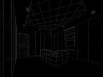 Abstraktes Skizzendesign des Innenbegehbaren schranks Stockbilder
