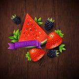 Abstraktes Sommerplakat mit Wassermelone, Erdbeere, Brombeere a lizenzfreie abbildung