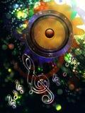 Abstraktes Soundspeaker mit Blumen Stockbild