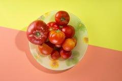 Abstraktes Stillleben mit Tomaten auf einer Platte Lizenzfreie Stockfotos