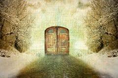Abstraktes Surrealismusweinlese-Wintermotiv Stockfotos