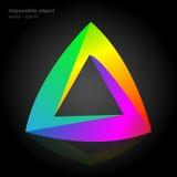 Abstraktes Symbol, unmöglicher Gegenstand, Dreieckfarbe Stockfotografie