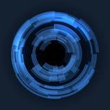 Abstraktes Technologie-Blau kreist Hintergrund ein. Vektor Stockfotos