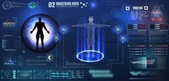 Abstraktes Technologie ui futuristisches Konzept menschliches digitales DNA-Gesundheitswesen von hud Schnittstellen-Hologrammelem lizenzfreie abbildung