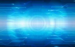 Abstraktes TechnologieLeiterplattemuster und -kreise auf blauem Farbhintergrund Stockbilder