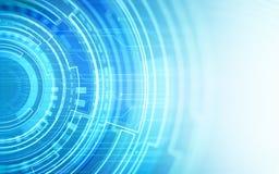 Abstraktes TechnologieLeiterplattemuster und -kreise auf blauem Farbhintergrund Stockfotos