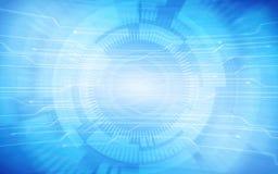Abstraktes TechnologieLeiterplattemuster und -kreise auf blauem Farbhintergrund Lizenzfreies Stockbild