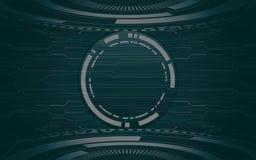 Abstraktes TechnologieLeiterplattemuster und -kreise auf schwarzem Farbhintergrund Lizenzfreies Stockbild