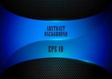 Abstraktes und schwarzes Hintergrundvektordesign der blauen Formtechnologie Stockfoto