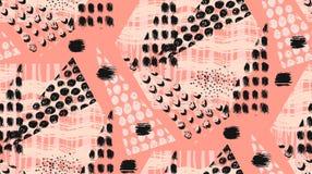 Abstraktes ungewöhnliches handgemachtes geometrisches nahtloses Muster oder Hintergrund mit Funkeln, schärfen Beschaffenheiten, d Stockbild