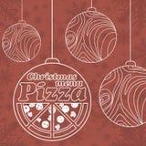 Abstraktes Vektor Weihnachtsmenü für Pizza stock abbildung