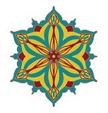 Abstraktes Vektorgestaltungselement, symmetrisches Muster der Blumenform in der recht roten blauen und gelben Farbkombination Stockfotografie