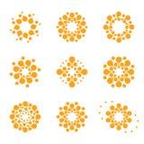 Abstraktes Vektorkreisfirmenzeichen Orange ungewöhnliche Chemielogos eingestellt Virusikone Orange sonnige Sonne Blume Lizenzfreies Stockfoto