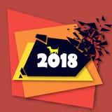 Abstraktes Viereck, das in Stückchen gebrochen ist Jahr des Erdhundes 2018 Abstraktes modernes geometrisches Design stock abbildung