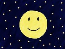 Abstraktes Vollmondlächeln des Gekritzels des Handabgehobenen betrages auf nächtlichem Himmel mit Stern, Illustration, Kopienraum Lizenzfreies Stockfoto