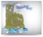 Abstraktes Wasserschloss mit Sonne hinter den Wolken vektor abbildung