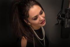 Abstraktes weibliches Porträt mit Schönheit bokeh Lizenzfreies Stockfoto