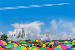 Abstraktes Weichzeichnung Thailand-Feuerkugel roket und Kreisfeuerkugel stockfotos