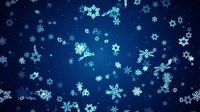 Abstraktes Weihnachten stilisierte die Schneeflocken, die langsam Videoschleifen-Hintergrund bewegen lizenzfreie abbildung