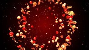 Abstraktes Weihnachts- und des neuen Jahresromantischer Hintergrund mit dem Fliegen von Weihnachtsbällen stock video footage