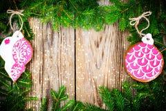 Abstraktes Weihnachts-und neues Jahr-Hintergrund mit altem Weinlese-Holz Stockbild