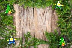 Abstraktes Weihnachts-und neues Jahr-Hintergrund mit altem Weinlese-Holz Lizenzfreie Stockbilder