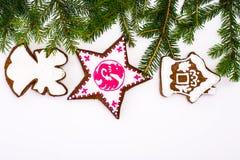 Abstraktes Weihnachts-und neues Jahr-Hintergrund mit Lebkuchen Stockbilder
