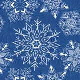 Abstraktes Weihnachtsnahtloser Hintergrund mit Schneeflocken Stockfotografie