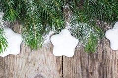 Abstraktes Weihnachtsnatürlicher Hintergrund in Grey Boards Stockfotos
