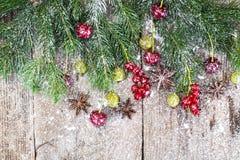 Abstraktes Weihnachtsnatürlicher Hintergrund in Grey Boards Stockfoto