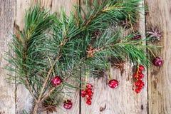 Abstraktes Weihnachtsnatürlicher Hintergrund in Grey Boards Lizenzfreies Stockbild