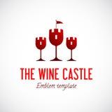 Abstraktes Wein-Glas-Schloss-Vektor-Konzept-Symbol Stockfotos