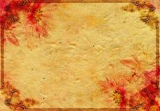Abstraktes Weinlesepapier mit roter Blume Stockbilder