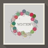 Abstraktes Winterdesign mit bunten Perlen Stockfoto