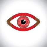 Abstraktes Zeichen des rote Farbmenschlichen Auges mit Stromkreis herein  lizenzfreie abbildung