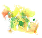 Abstraktes Zeichnungsanschlagtintenaquarell-Bürstengrün, gelbes Wasser Stockbilder