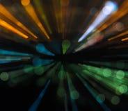 Abstraktes Zoomunschärfe-Stadt bokeh beleuchtet Hintergrund Lizenzfreie Stockfotografie