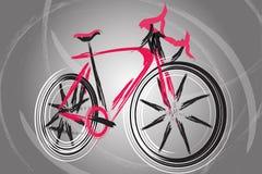 Abstraktes zukünftiges Fahrrad auf einem attraktiven Hintergrund Stockfotos