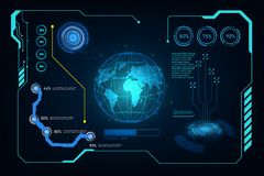 Abstraktes zukünftiges futuristisches Schirm-System hud ui GUI virtuelles desi lizenzfreie abbildung