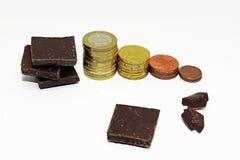 Abstraktion auf einem Aufstieg im Preis der Schokolade Stockbilder